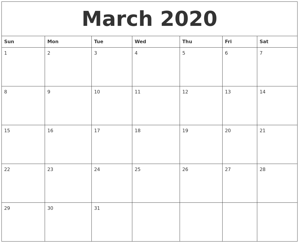 March 2020 Free Calendar Download