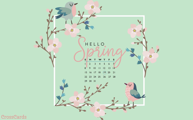 March 2020 - Hello Spring Desktop Calendar- Free March Wallpaper