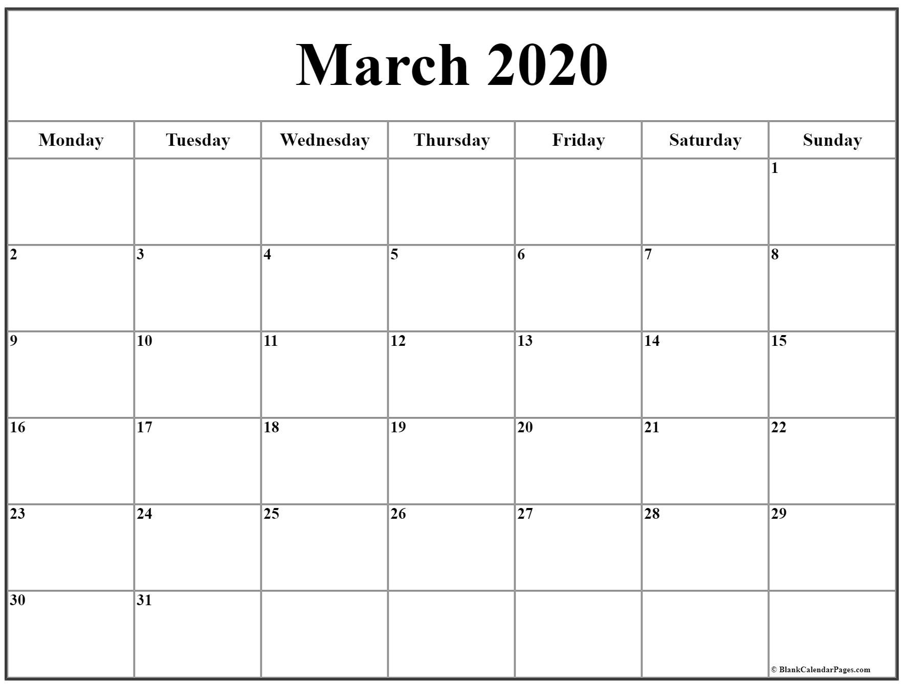 March 2020 Monday Calendar   Monday To Sunday