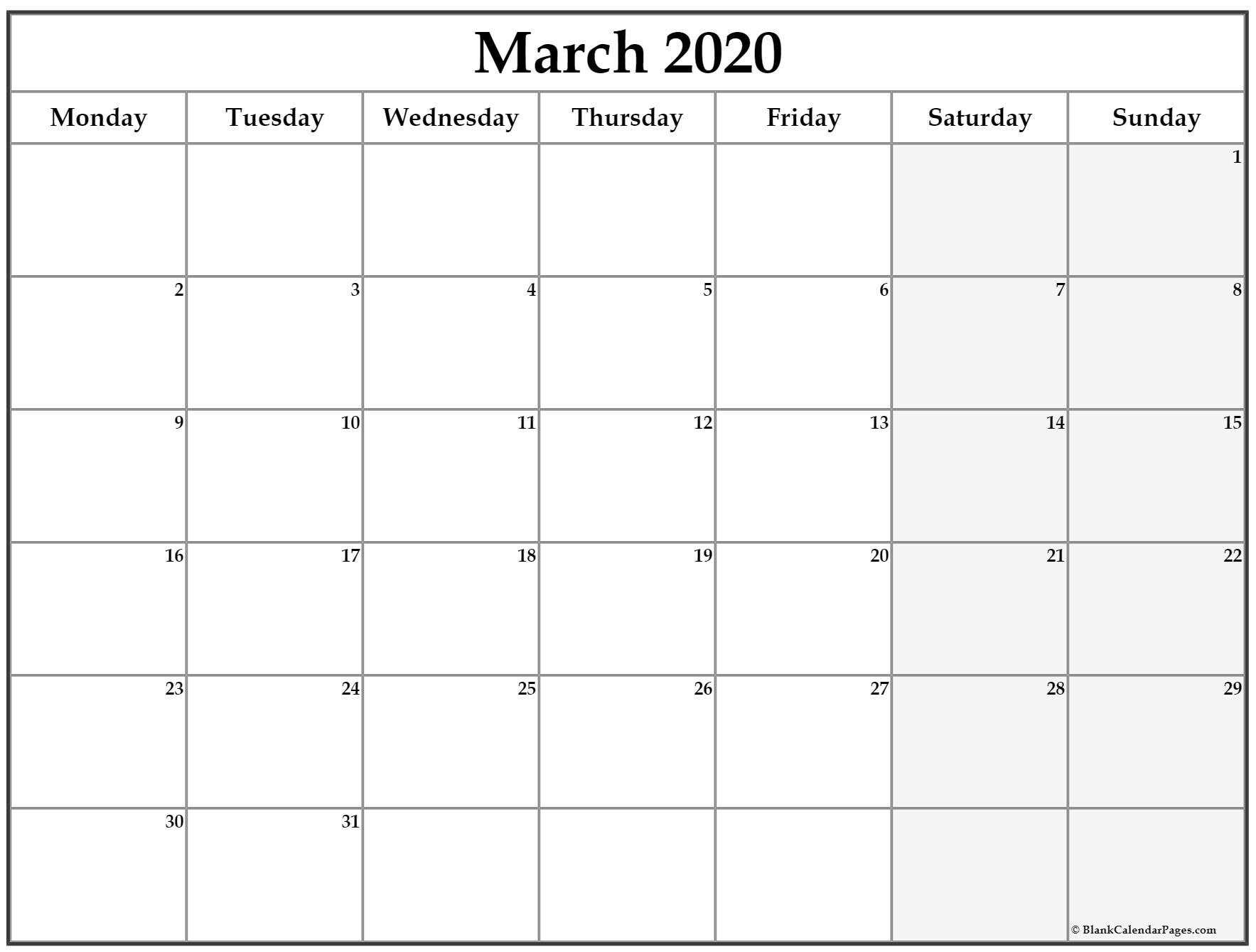 March 2020 Monday Calendar | Monday To Sunday