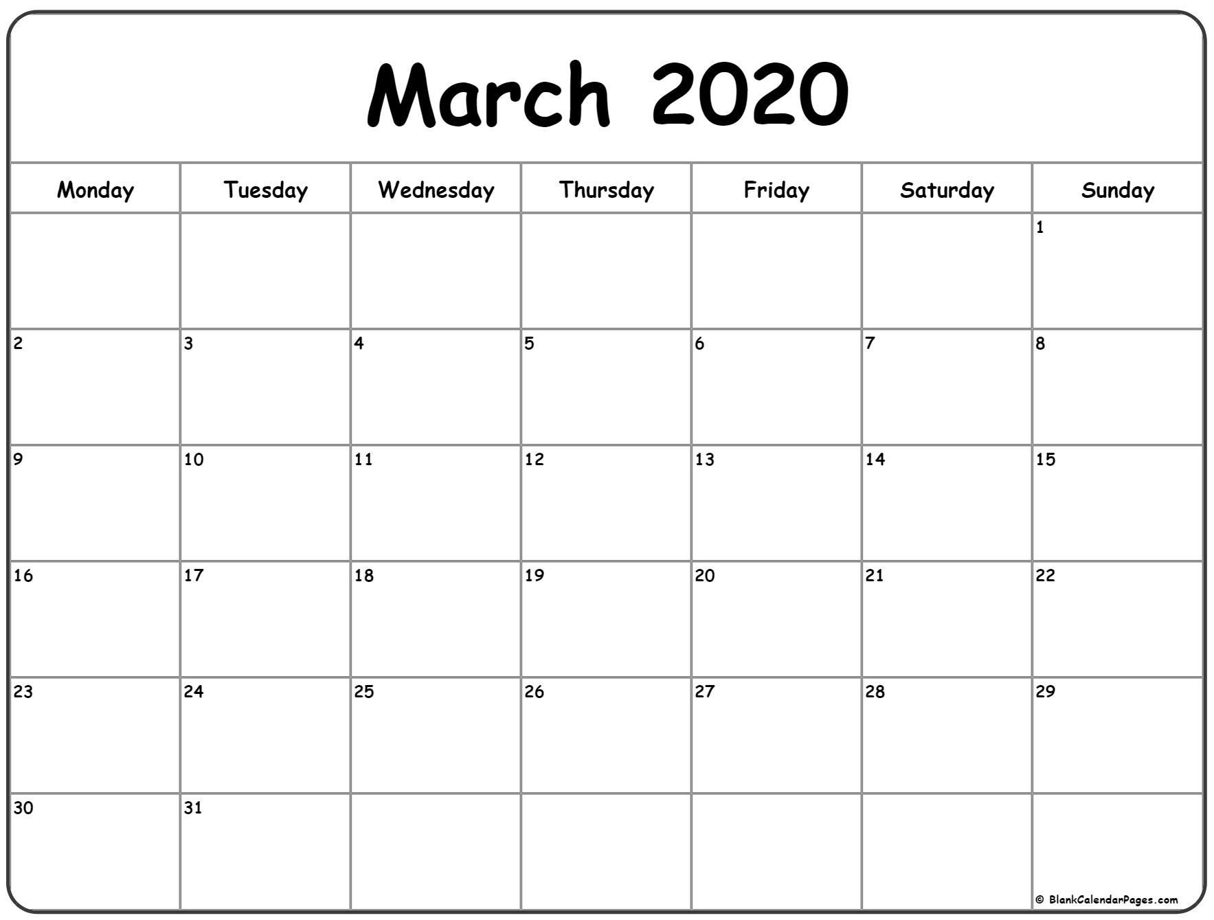 March 2020 Monday Calendar | Monday To Sunday | August