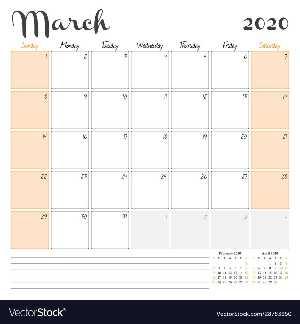 March 2020 Monthly Calendar Planner Printable