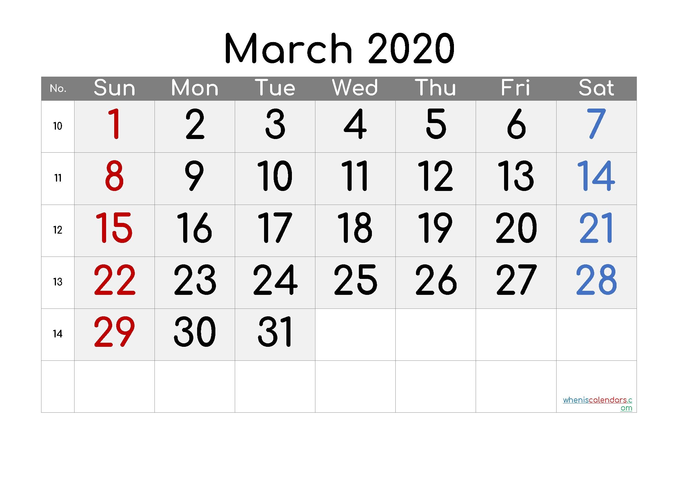 March 2020 Printable Calendar With Week Numbers - 6