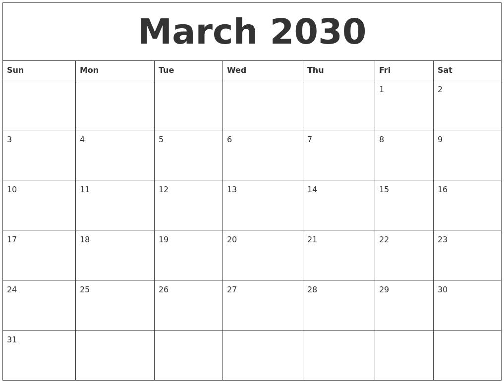 March 2030 Print Out Calendar