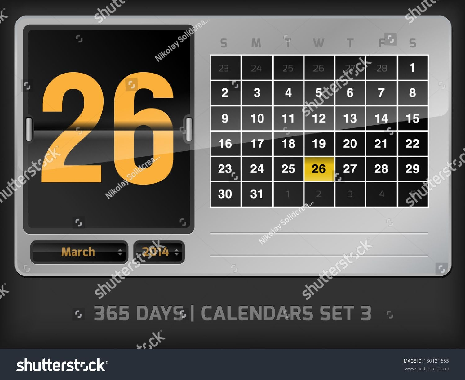 March 26 Daily Vector Counter Calendar Stock Image