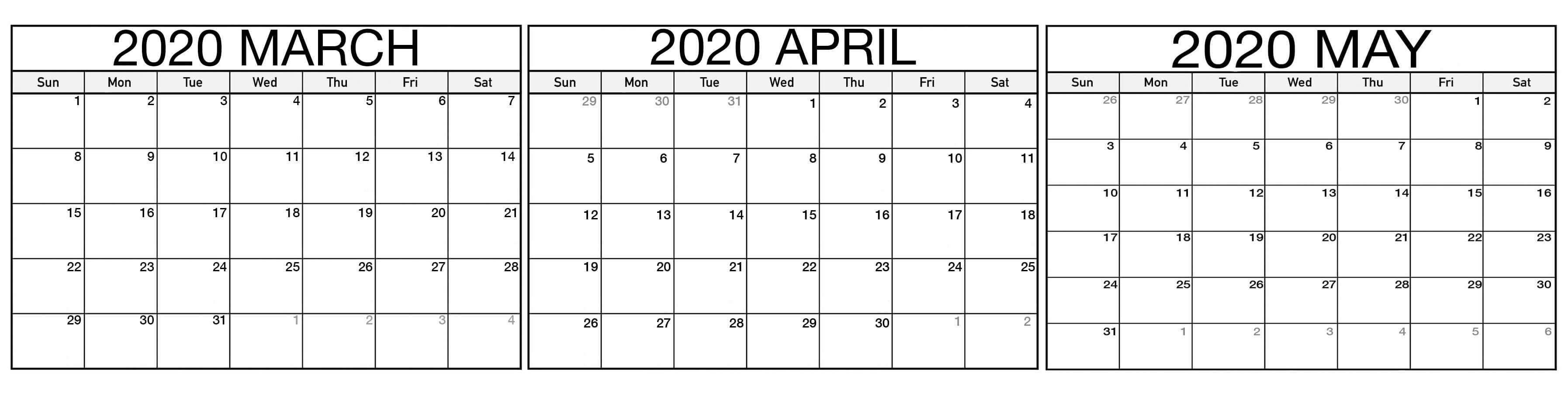 March April May 2020 Calendar Printable - Free Calendars