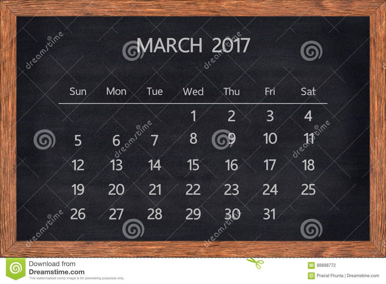 March Month 2017 Calendar On Chalkboard Wood Frame. Stock