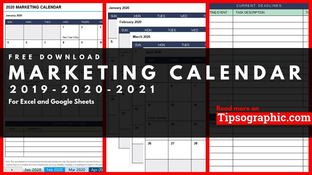 Marketing Calendar Template For Excel, Free Download (2020