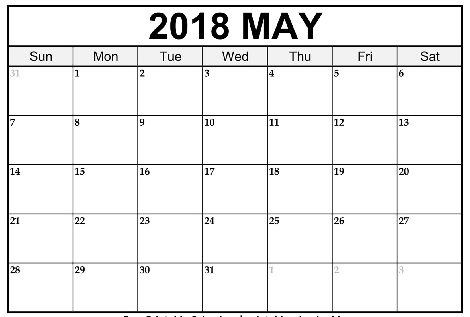 May 2018 Word Calendar Template - Printable Monthly Calendar