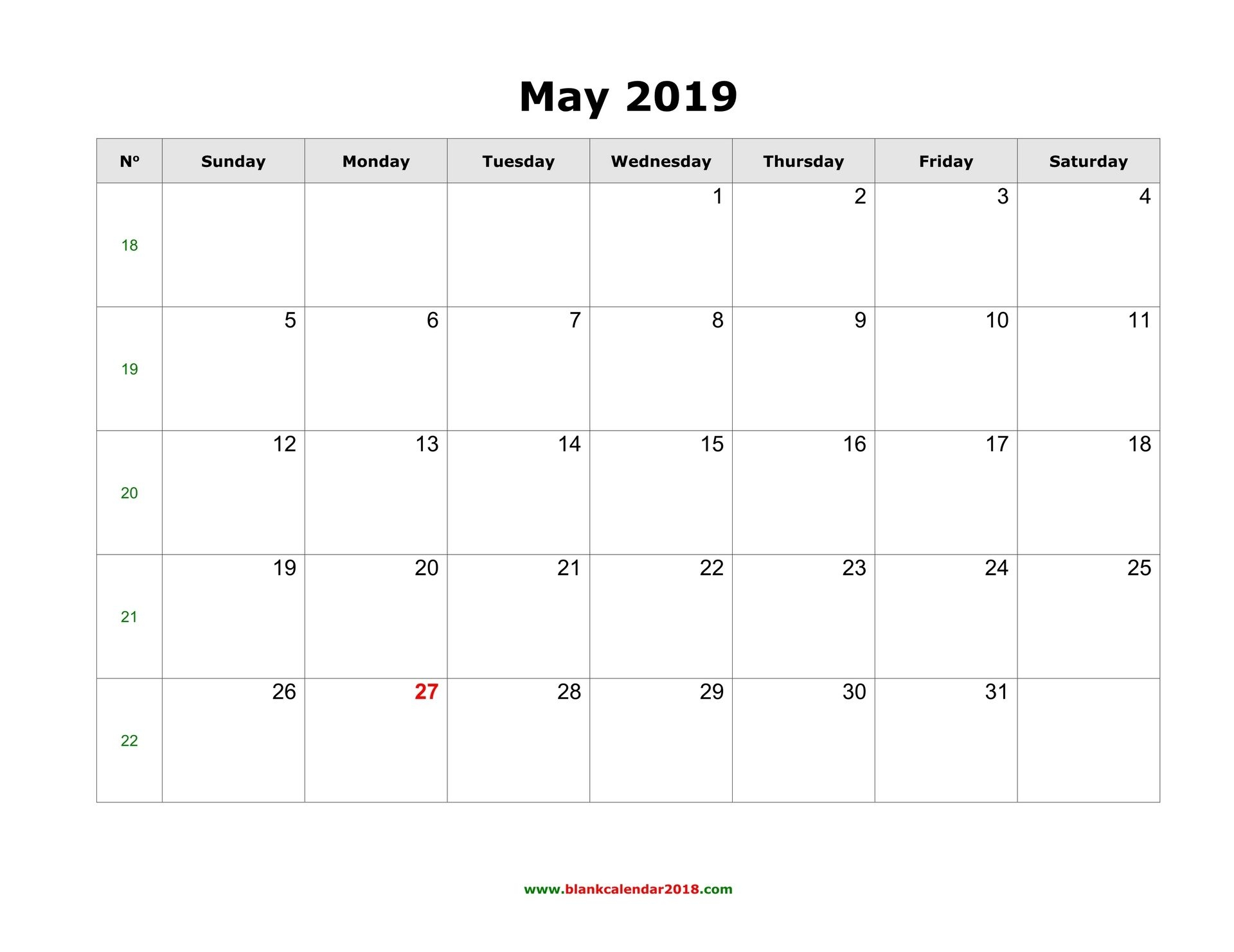 May 2019 Calendar Template Printable Best Style - Printable