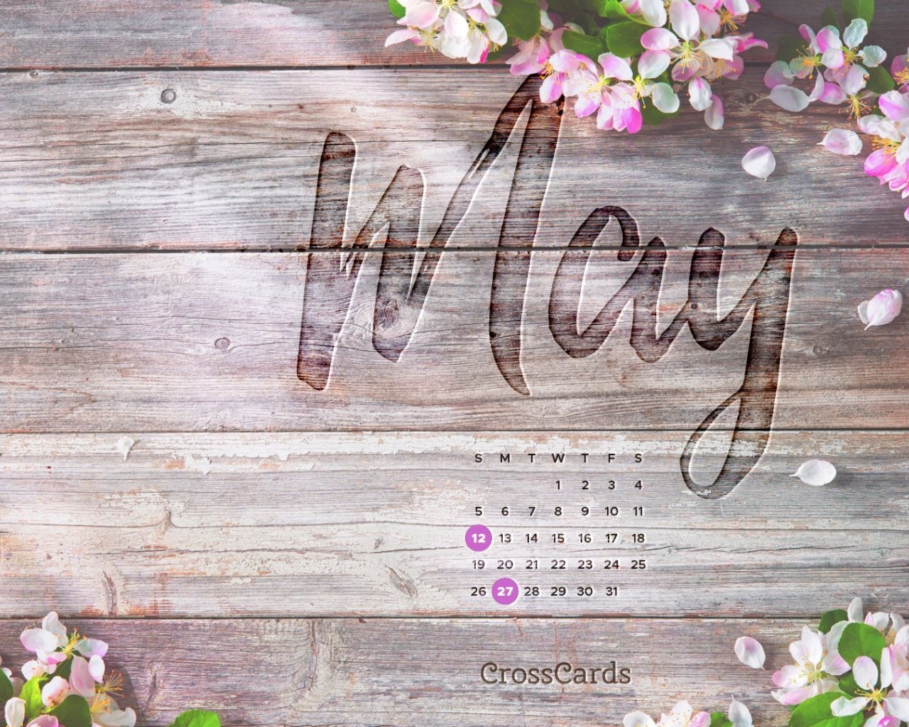 May 2019 - Cherry Blossoms Desktop Calendar- Free May Wallpaper