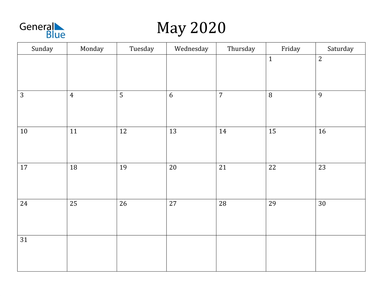 May 2020 Calendar - Pdf Word Excel