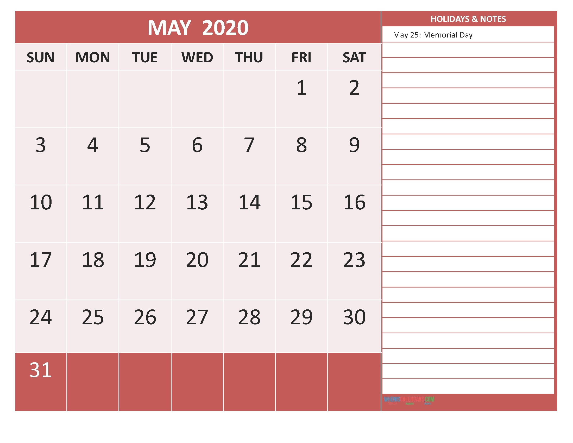 May 2020 Calendar With Holidays Free Printable By Word