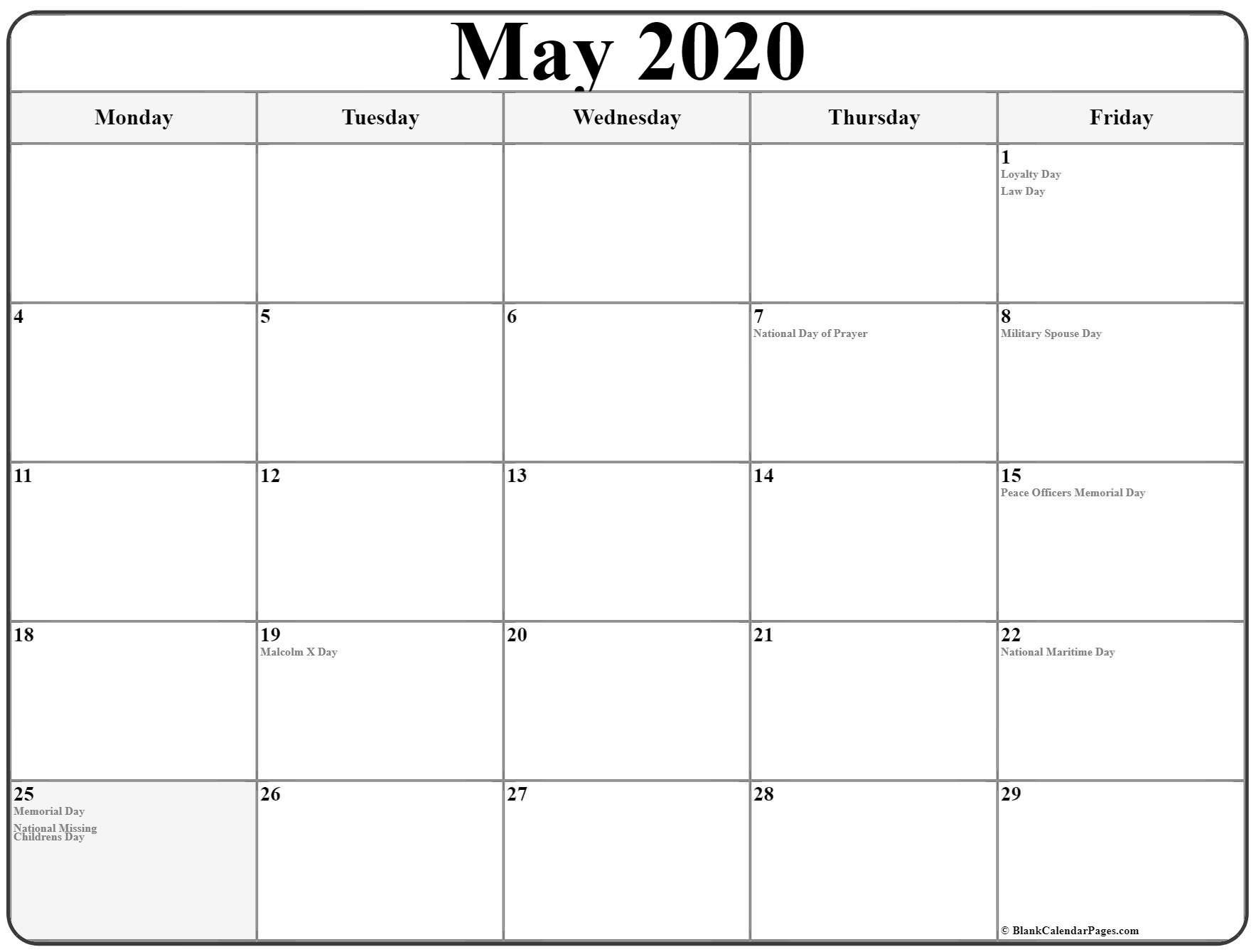 May 2020 Monday Calendar   Monday To Sunday