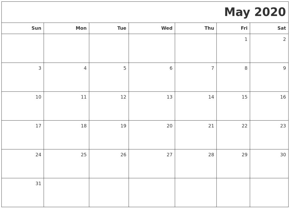 May 2020 Printable Blank Calendar