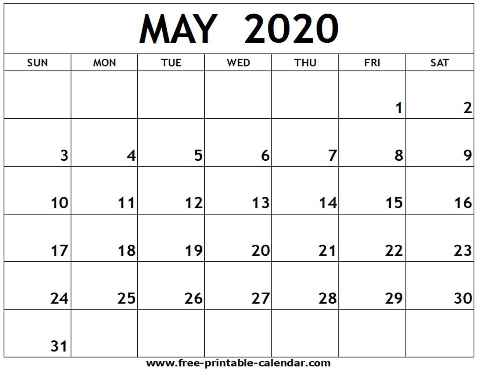 May 2020 Printable Calendar - Free-Printable-Calendar