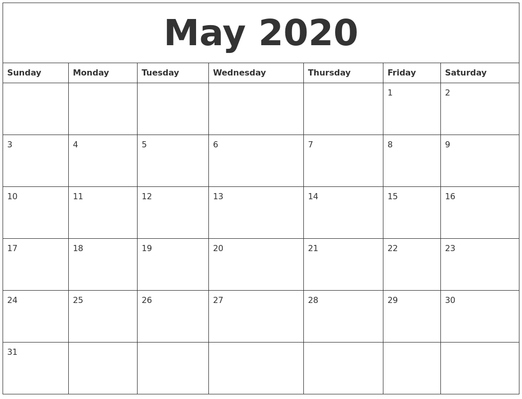 May 2020 Word Calendar