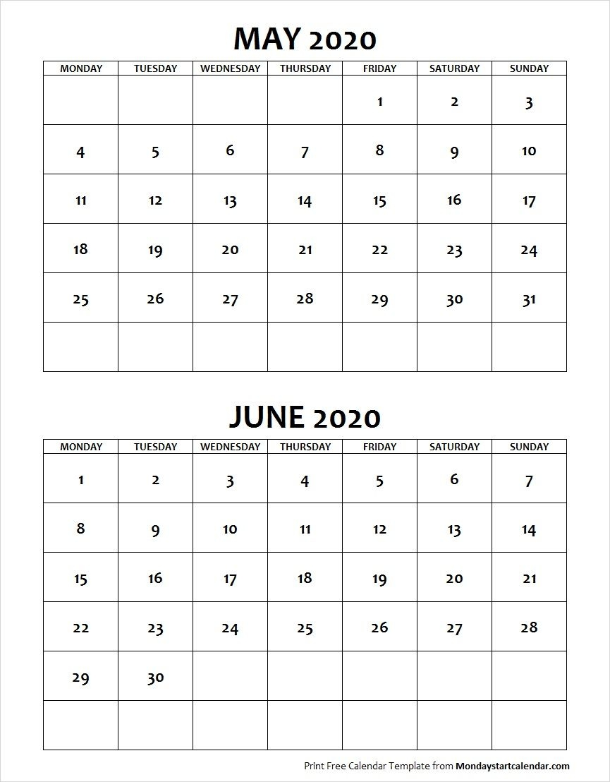 May June 2020 Calendar Monday Start | Editable Two Months