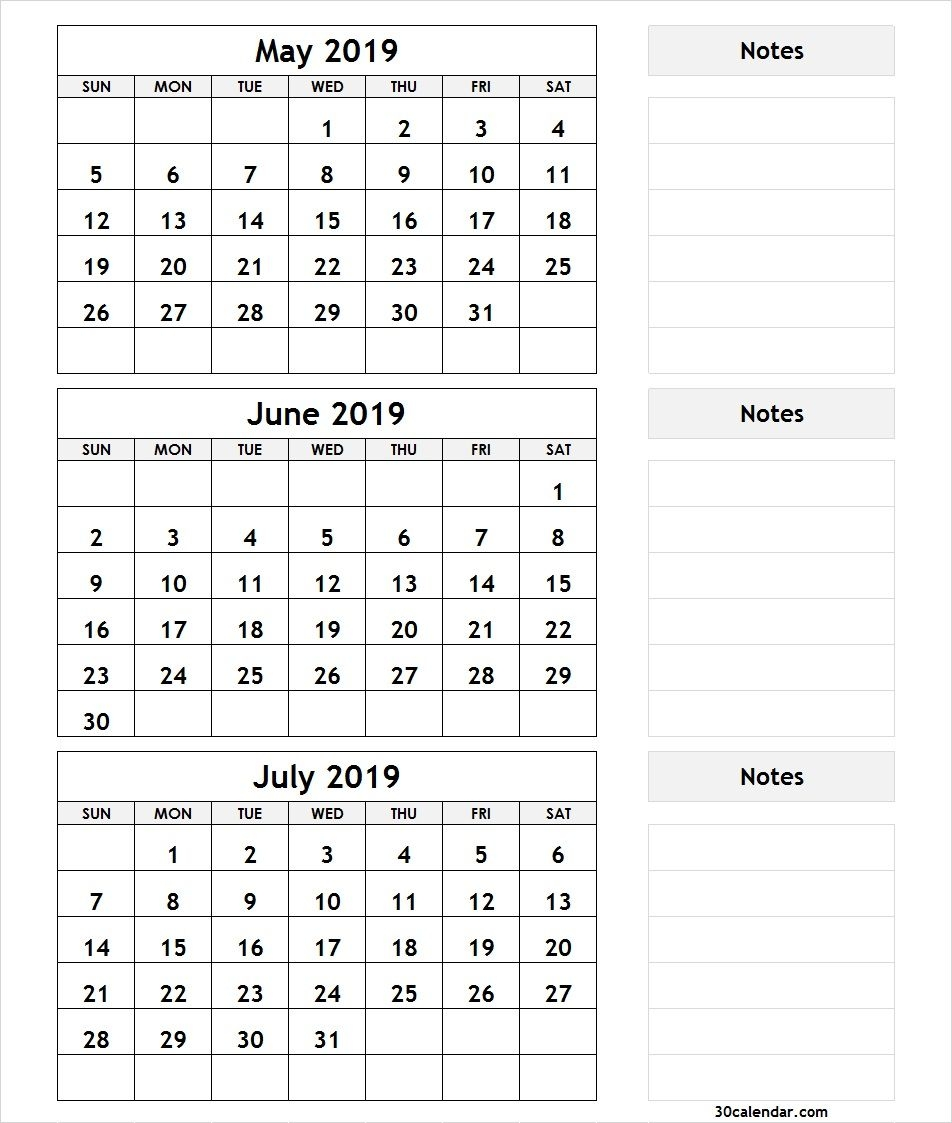 May June July 2019 Calendar | 3 Month Calendar Template