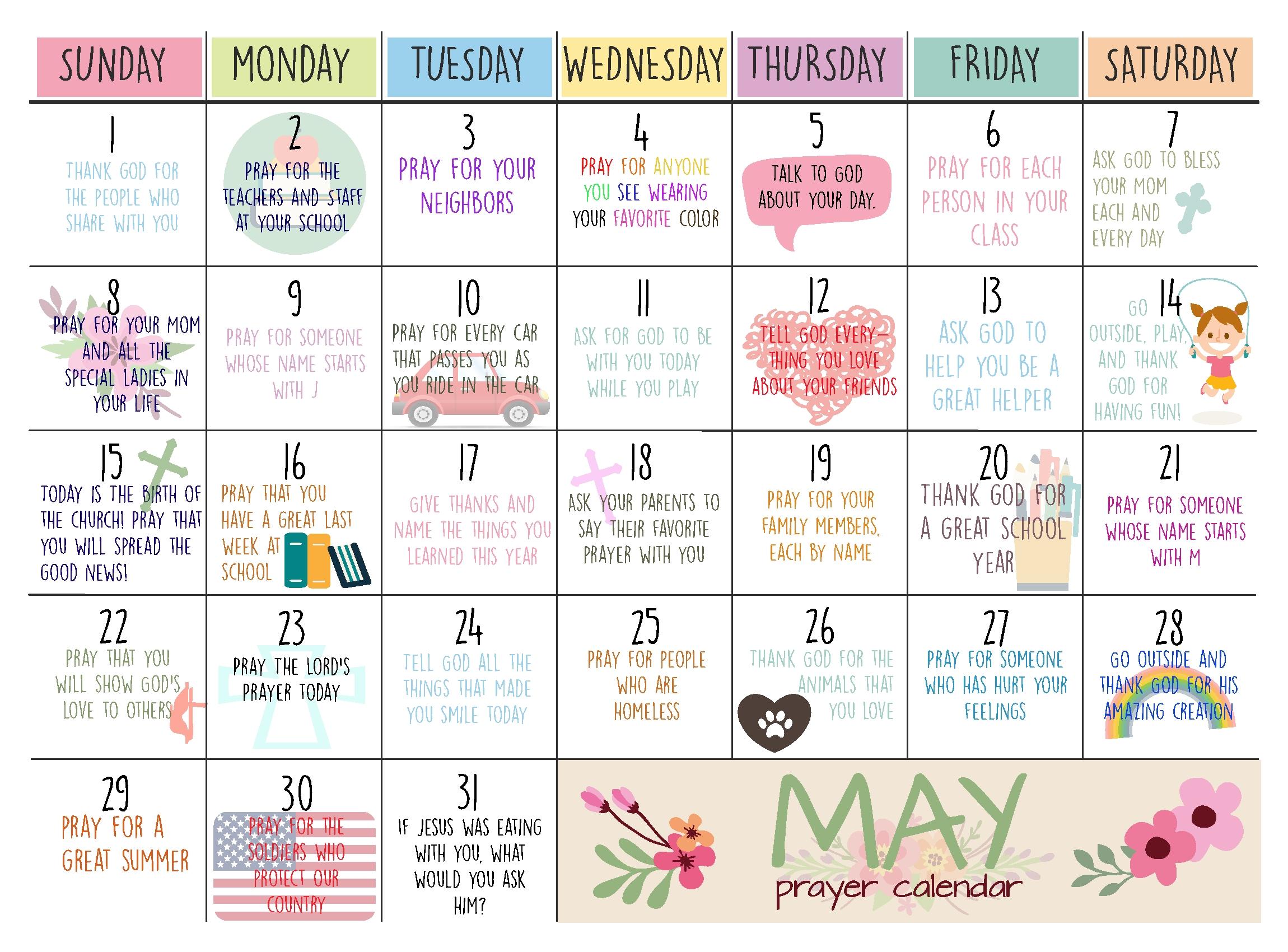 May Prayer Calendar For Kids, Prayer Calendar, Prayer