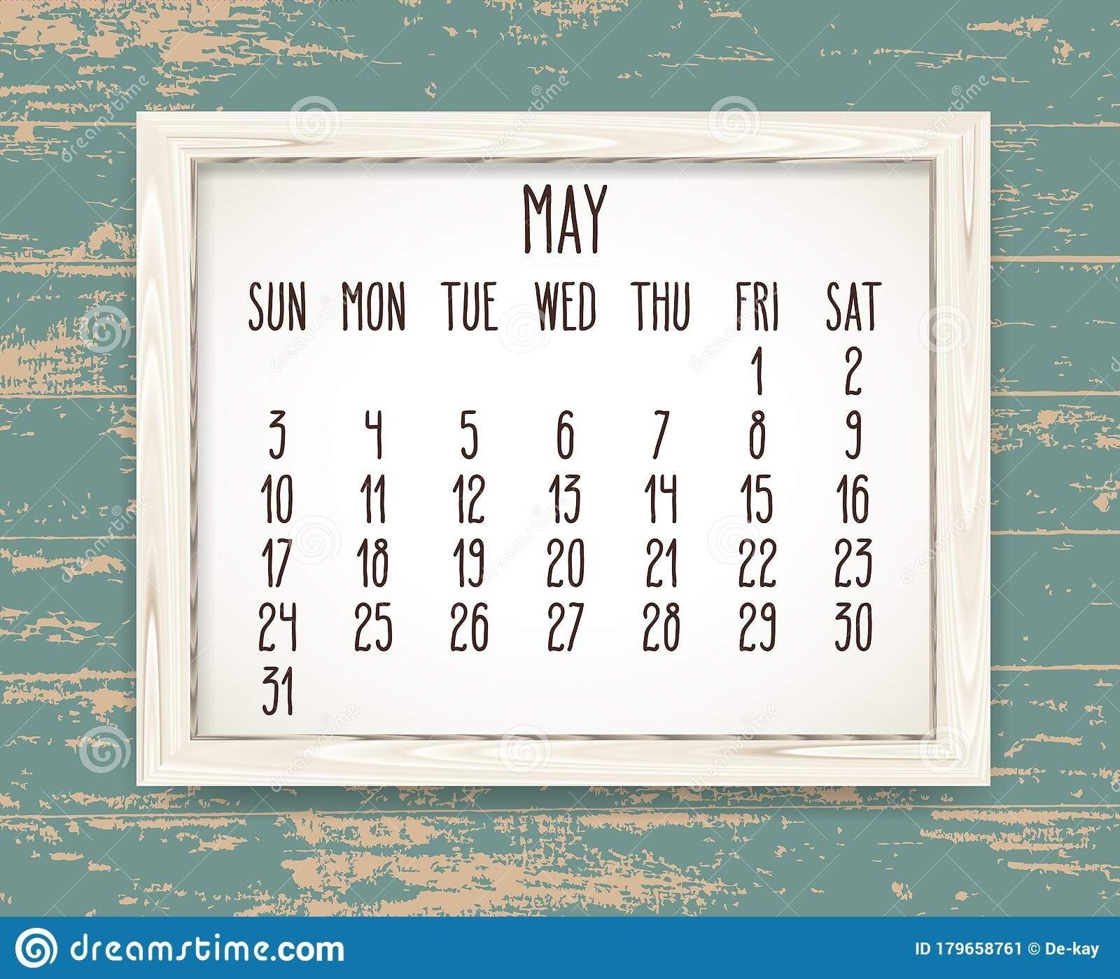 May Year 2020 Monthly Calendar In A Wooden Frame Stock
