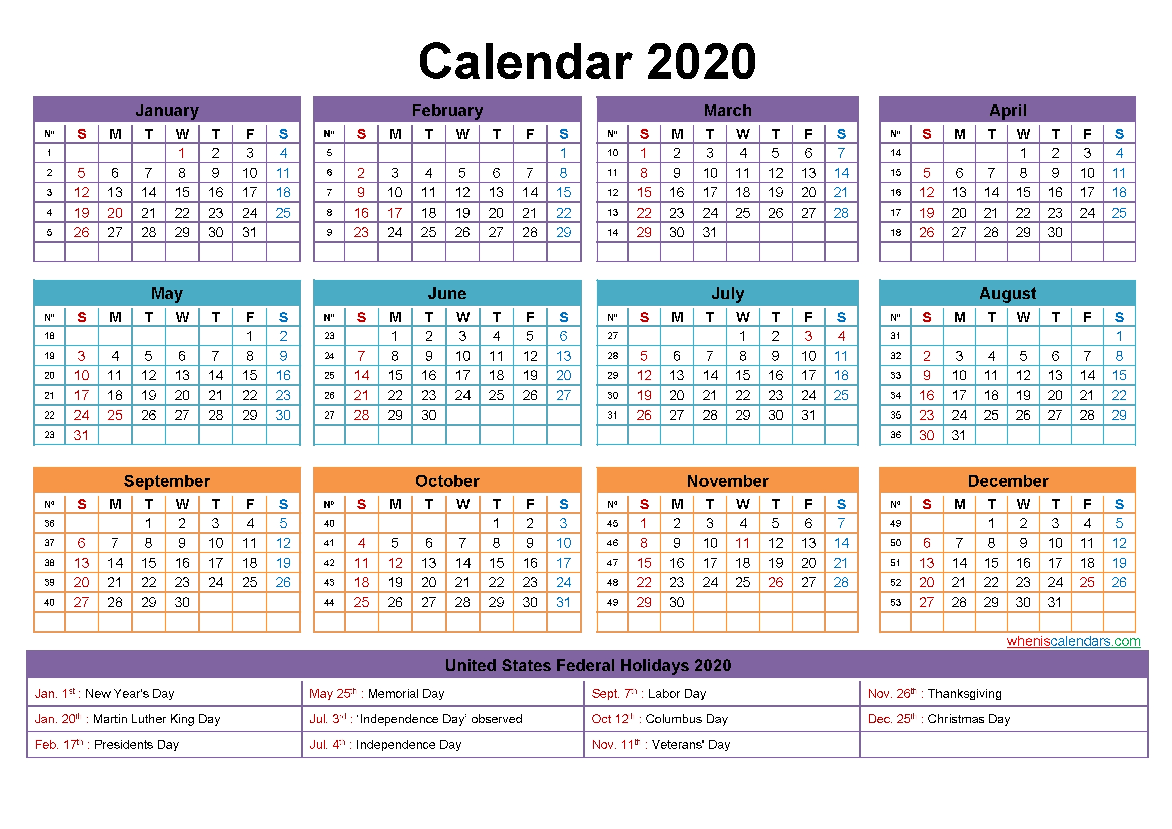 Mini Desk Calendar 2020 Free Printable | Free Printable 2020