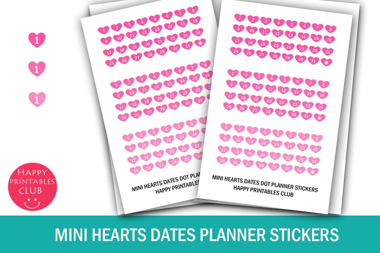 Mini Hearts Date Stickers-Calendar Numbers 1-31- Planners