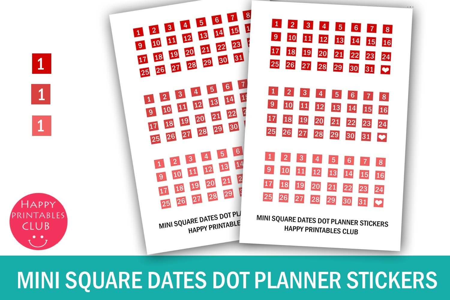 Mini Square Date Sticker-Calendar Number