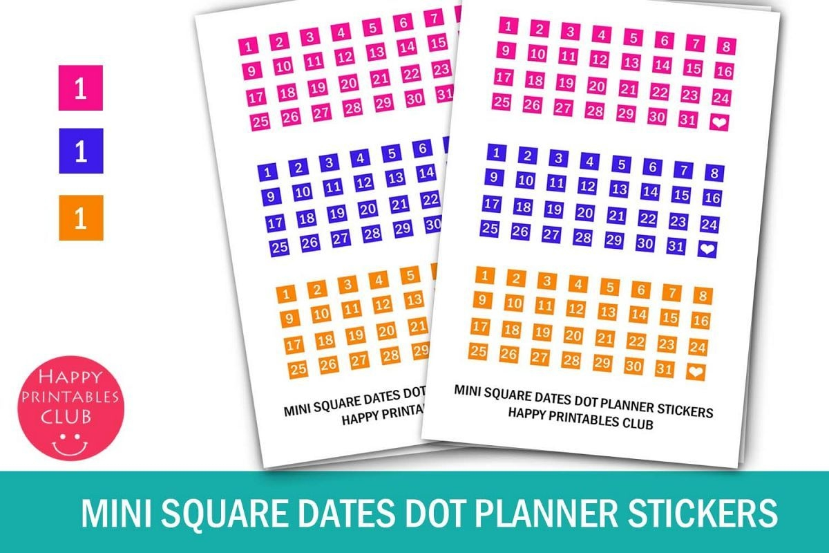 Mini Squares Date Stickers-Calendar Numbers 1-31- Planners