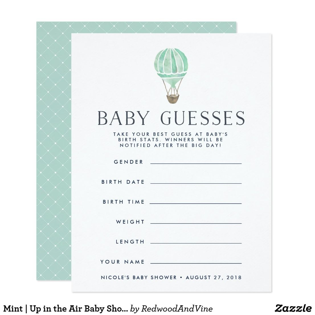 Mint | Up In The Air Baby Shower Guessing Game | Zazzle