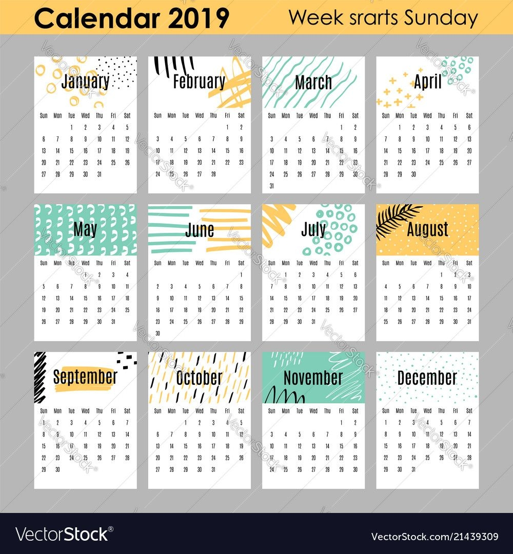 Modern Creative Calendar 2019 12 Design Templates