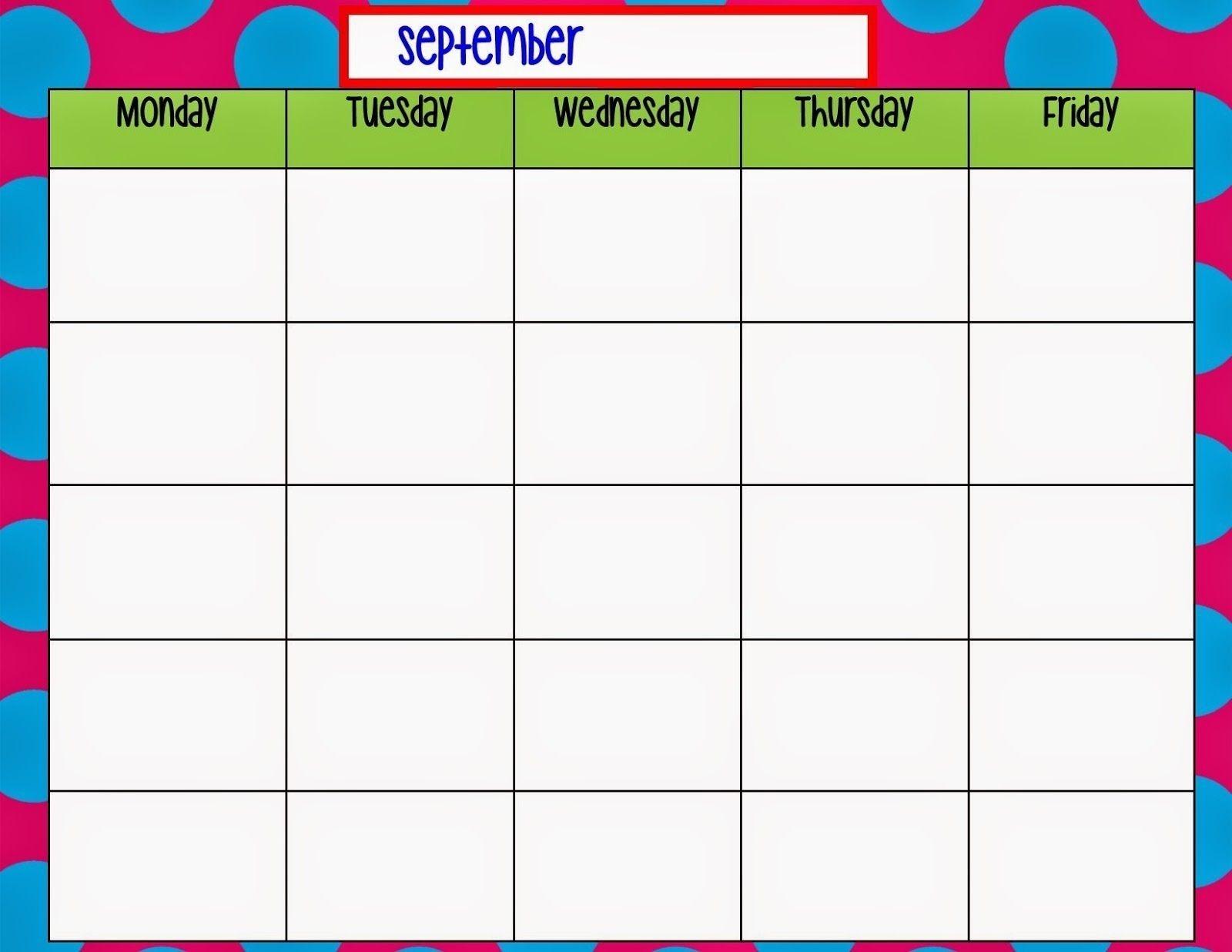 Monday Friday Monthly Calendar Template   Calendar Template