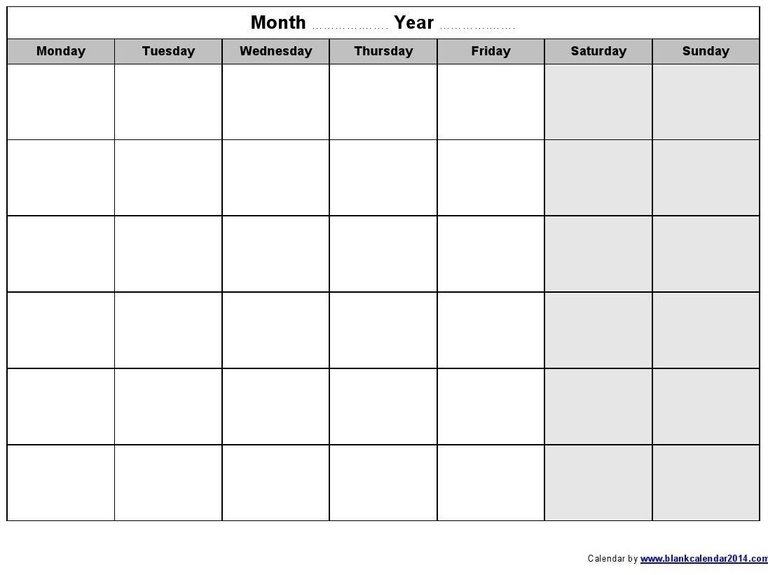Monday Friday Monthly Calendar Template | Calendar Template
