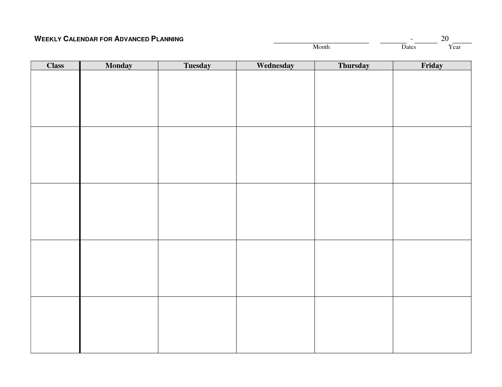 Monday Through Friday Printable Calendar (With Images