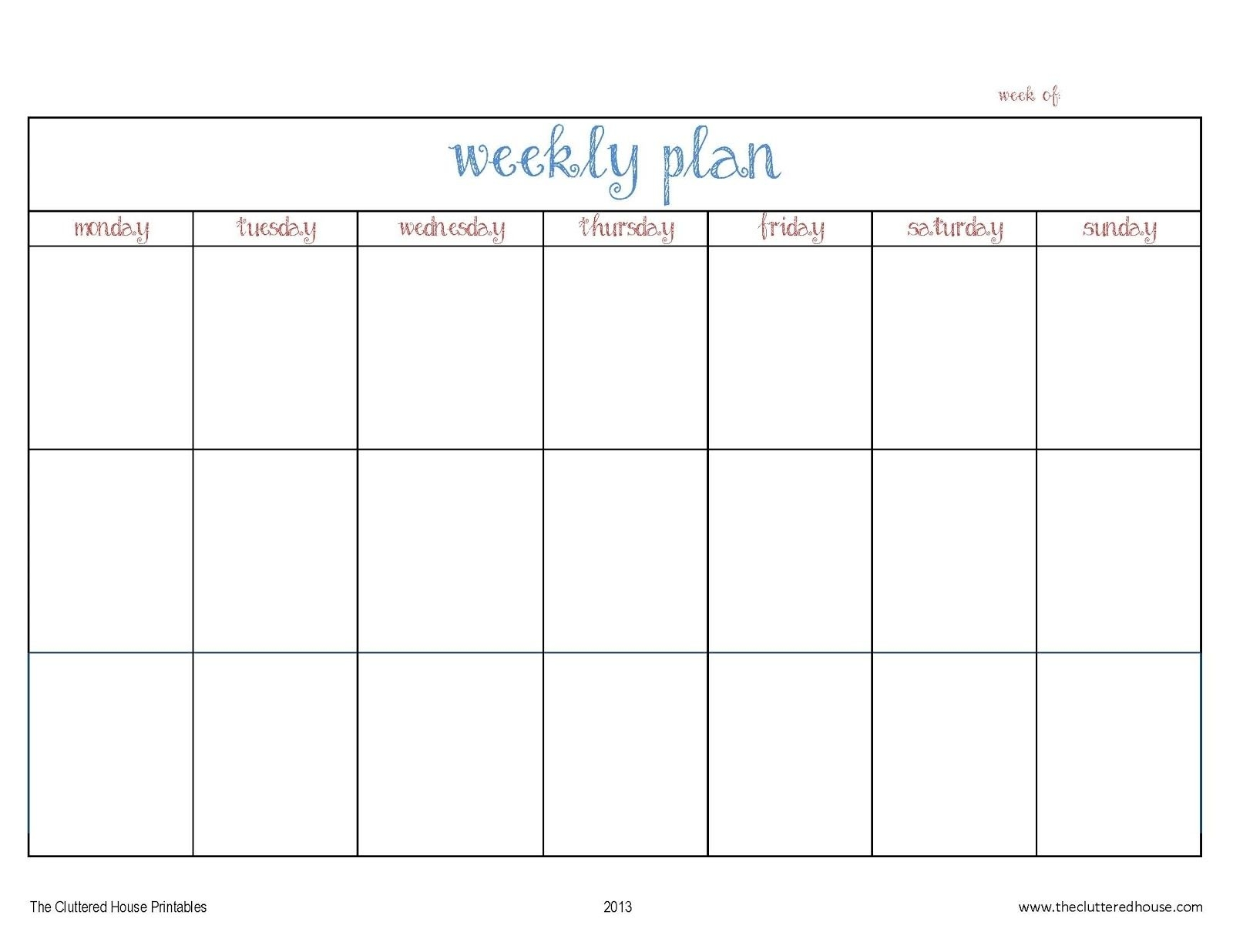 Monday To Friday Planner Template - Calendar Inspiration Design