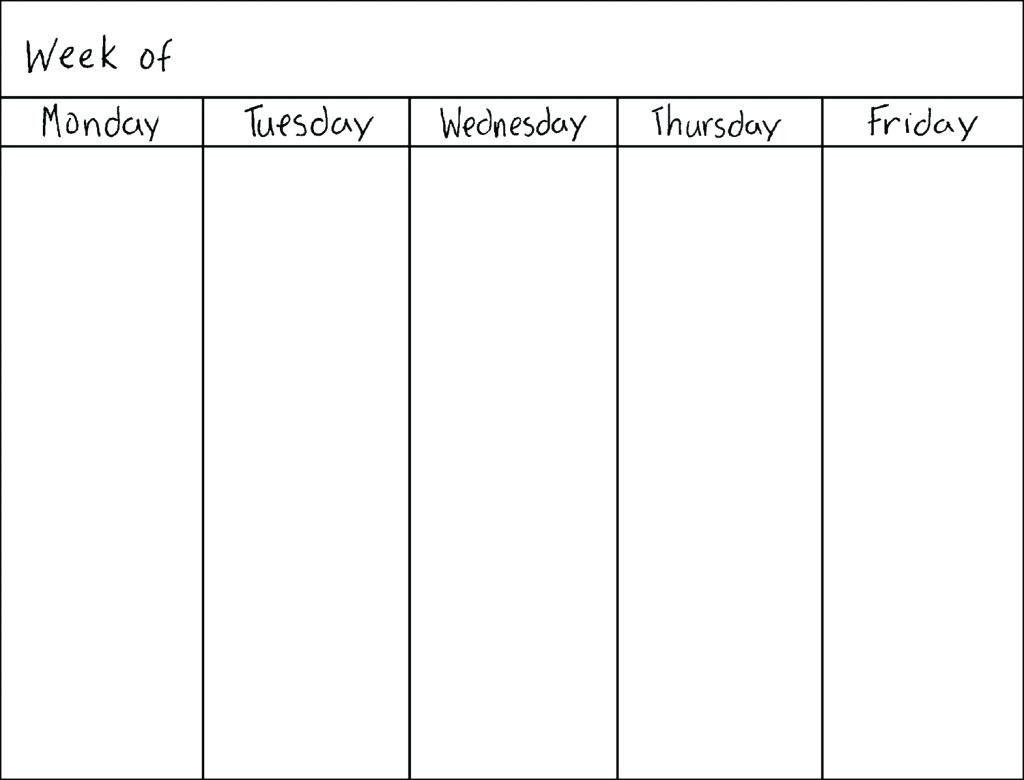 Monday To Friday Schedule Printable - Calendar Inspiration