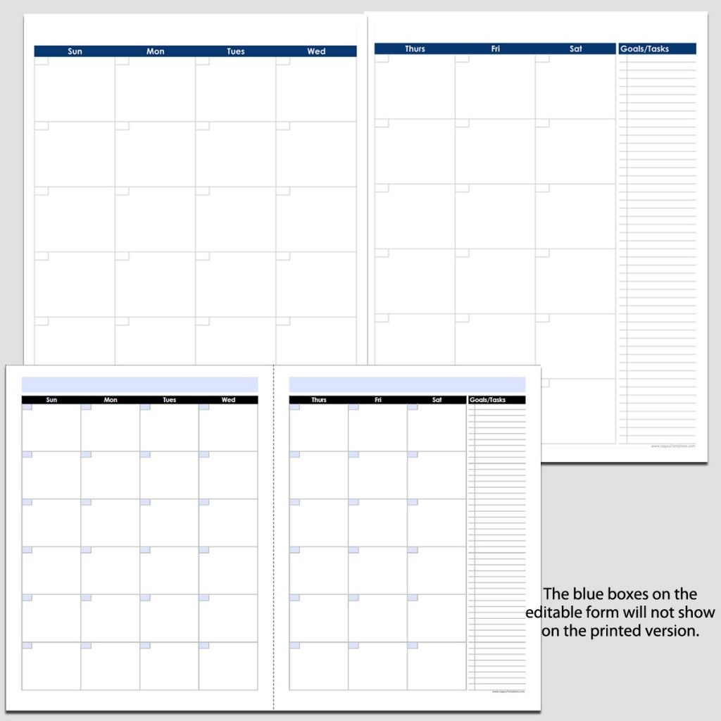 """Monthly 2-Page Perpetual Calendar With Tasks - 8 1/2"""" X 11"""