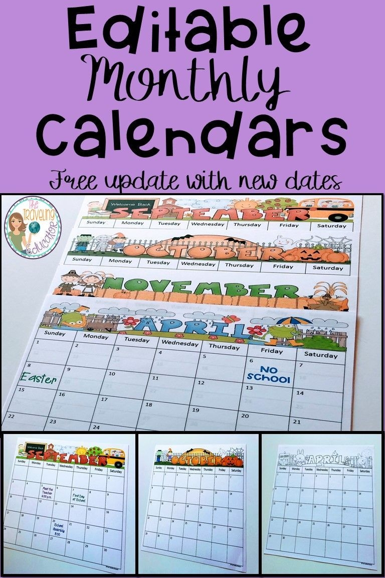 Monthly Calendar Editable Template (2019-2022) (With Images