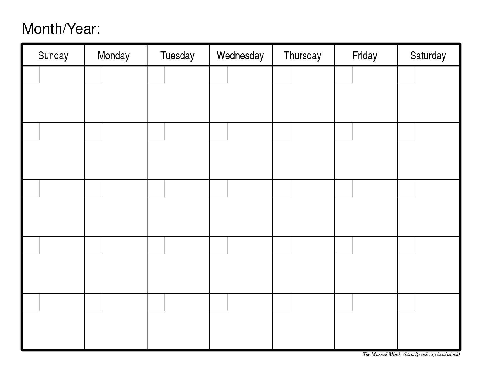 Monthly Calendar Free Printable | Printable Calendar 2014