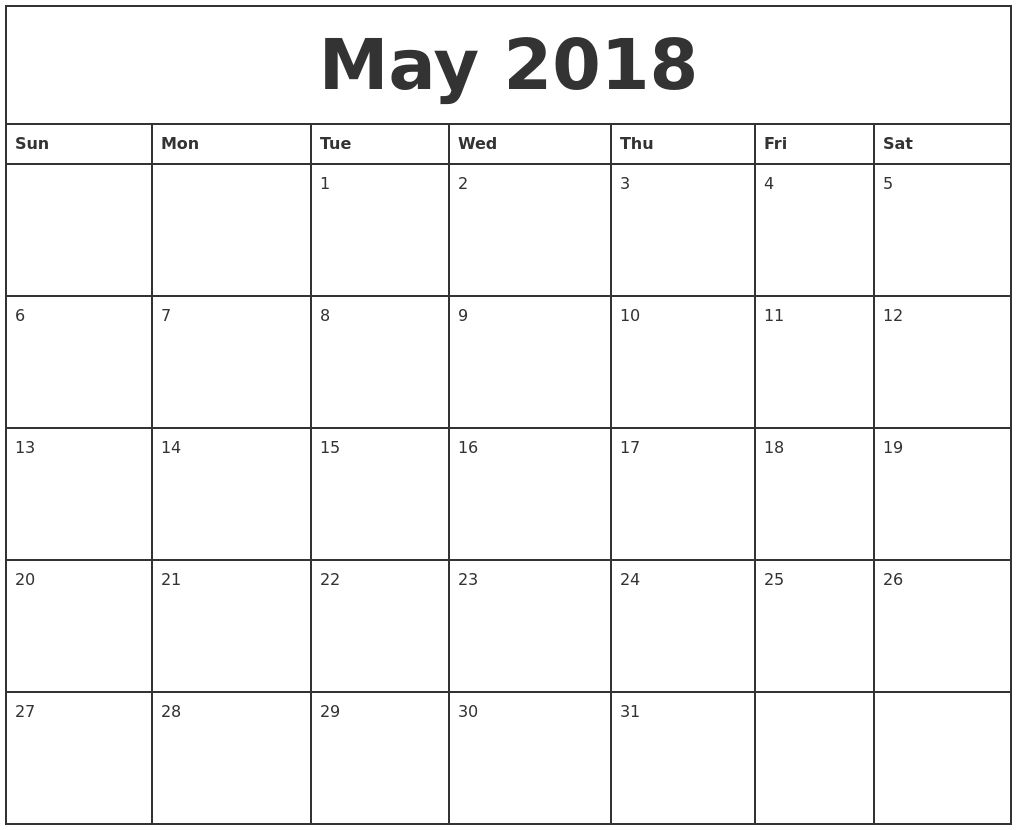 Monthly Calendar May – Printable Year Calendar