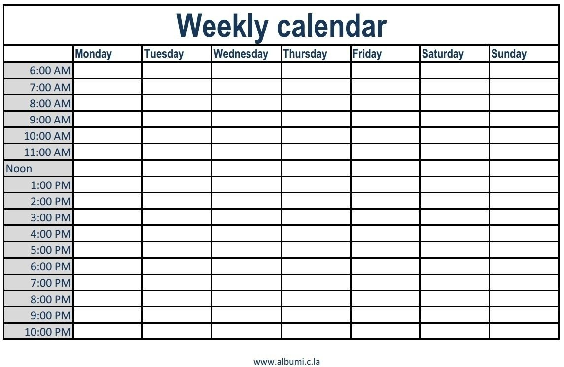 Monthly Calendar Schedule With Time Slots - Calendar