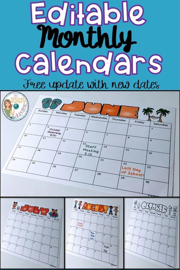 Monthly Calendar Template (2019-2022)   Student Calendar