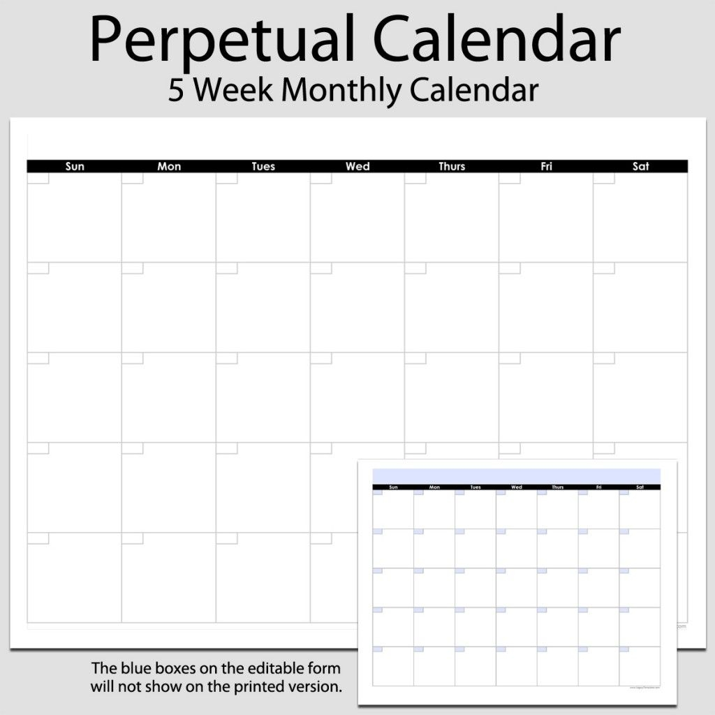 Monthly Perpetual Calendar In Landscape – 8 1/2″ X 11