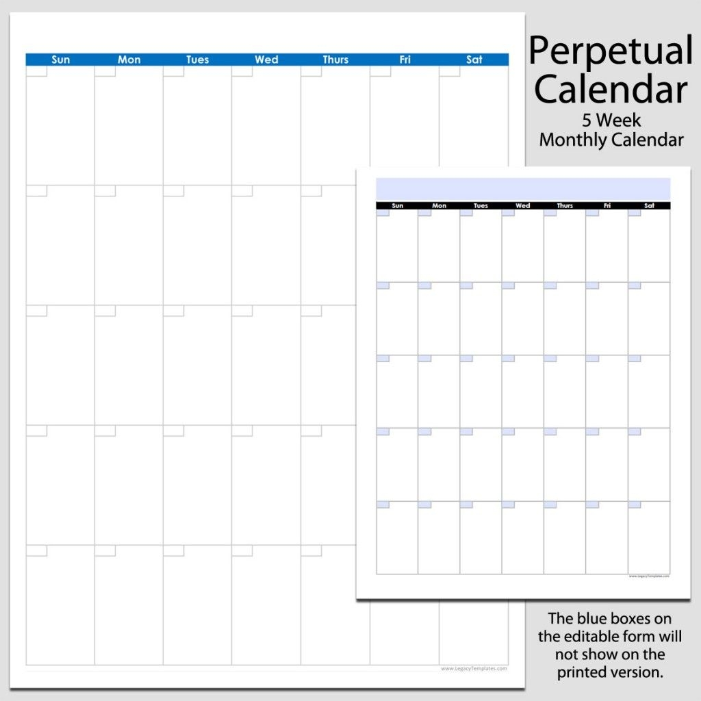 Monthly Perpetual Calendar In Portrait – 8 1/2″ X 11