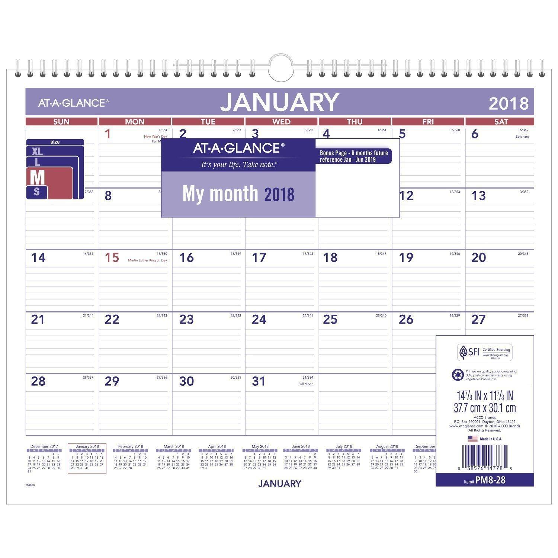 Monthly Wall Calendar Design Ideas, January 2018 - December