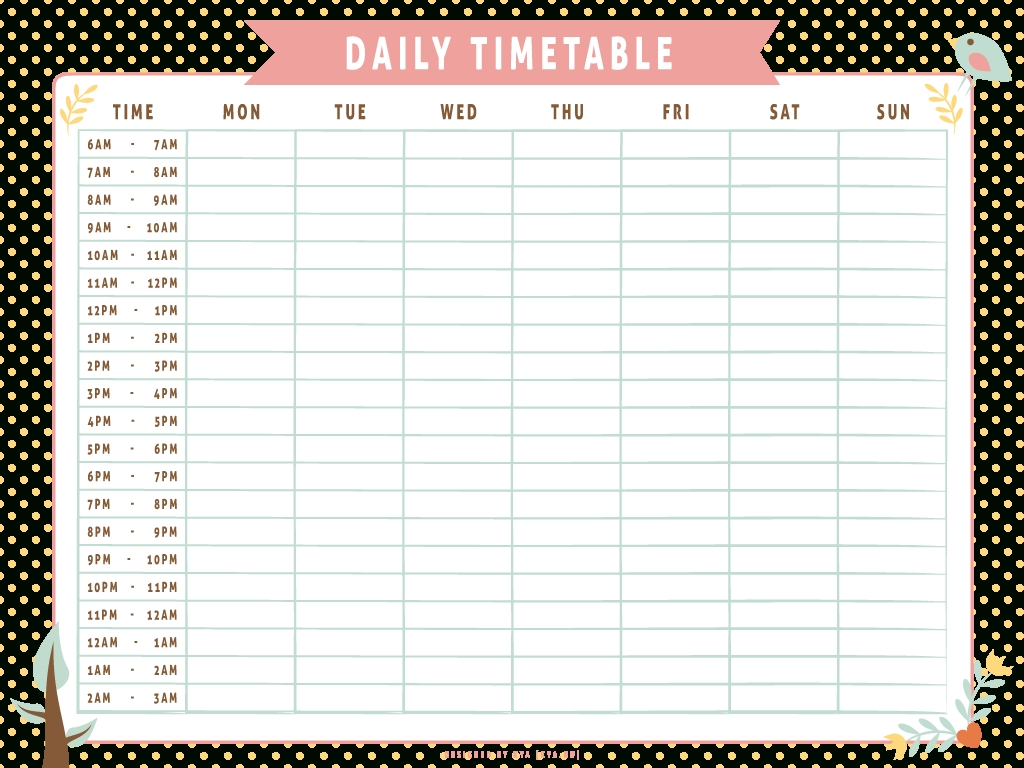 Monthly Work Schedule Time Table Template Word | กระดาษสมุด