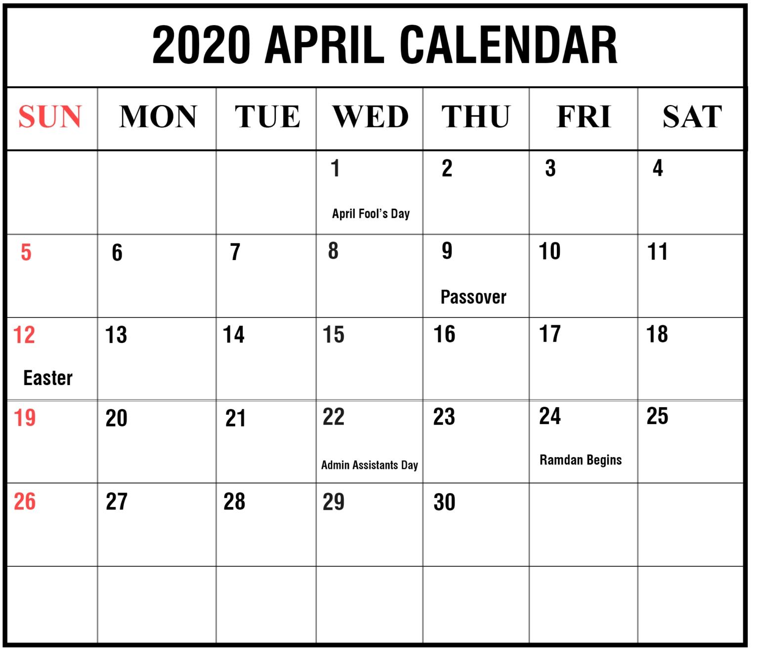Most Current Images 2020 Calendar April Thoughts, 2020