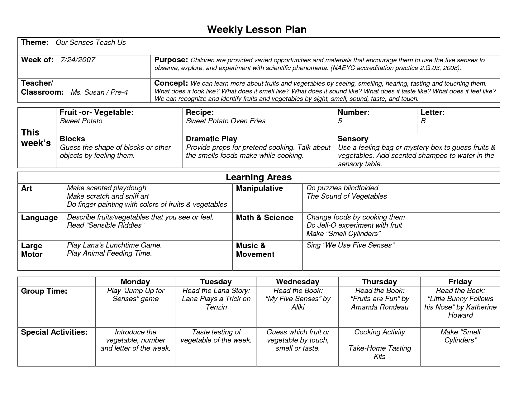 Naeyc Lesson Plan Template For Preschool | Sample Weekly