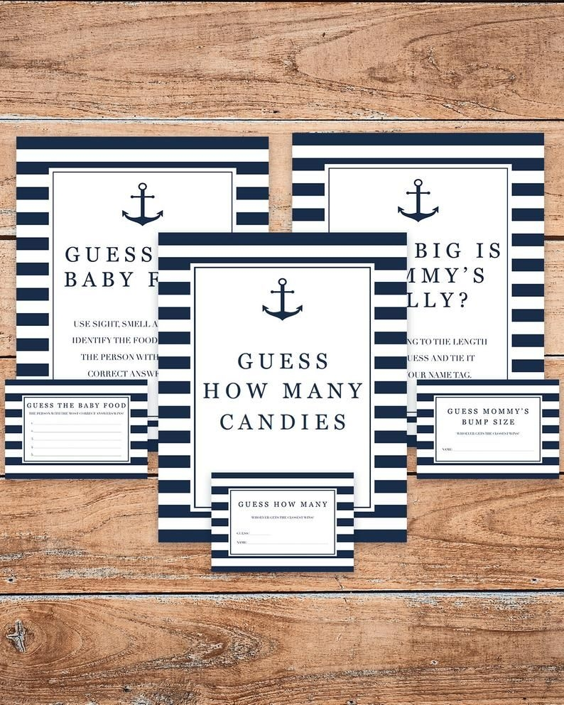 Nautical Baby Shower Guessing Games Pack Printable Guess How Many Candies  Game Anchor Baby Shower Guess The Baby Food Sign Mommys Belly Ns1