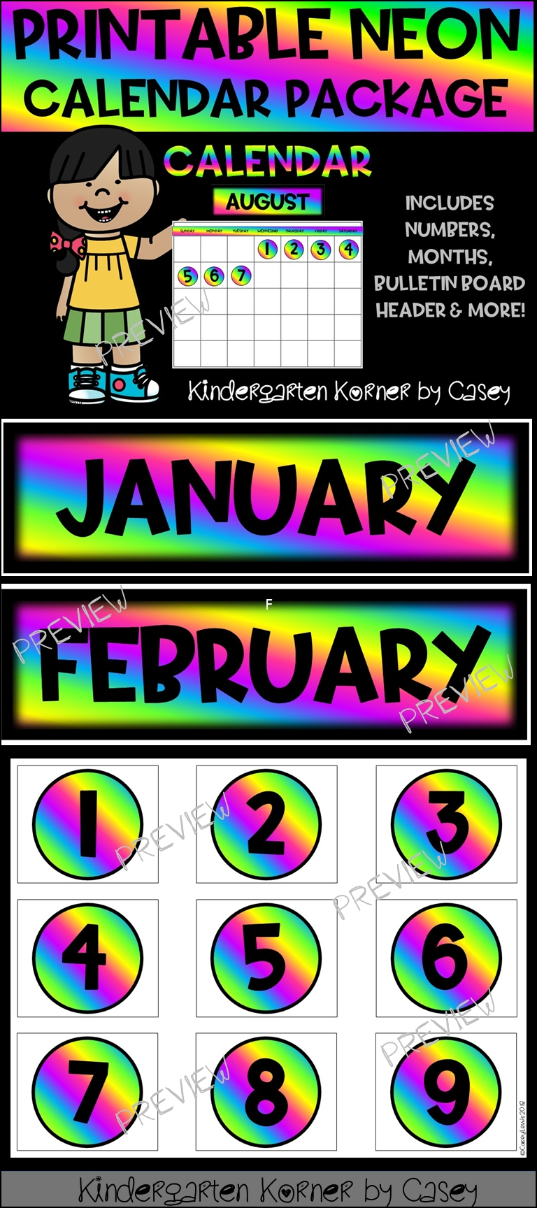 Neon Printable Calendar Set- Months Numbers 1 To 31 Bulletin